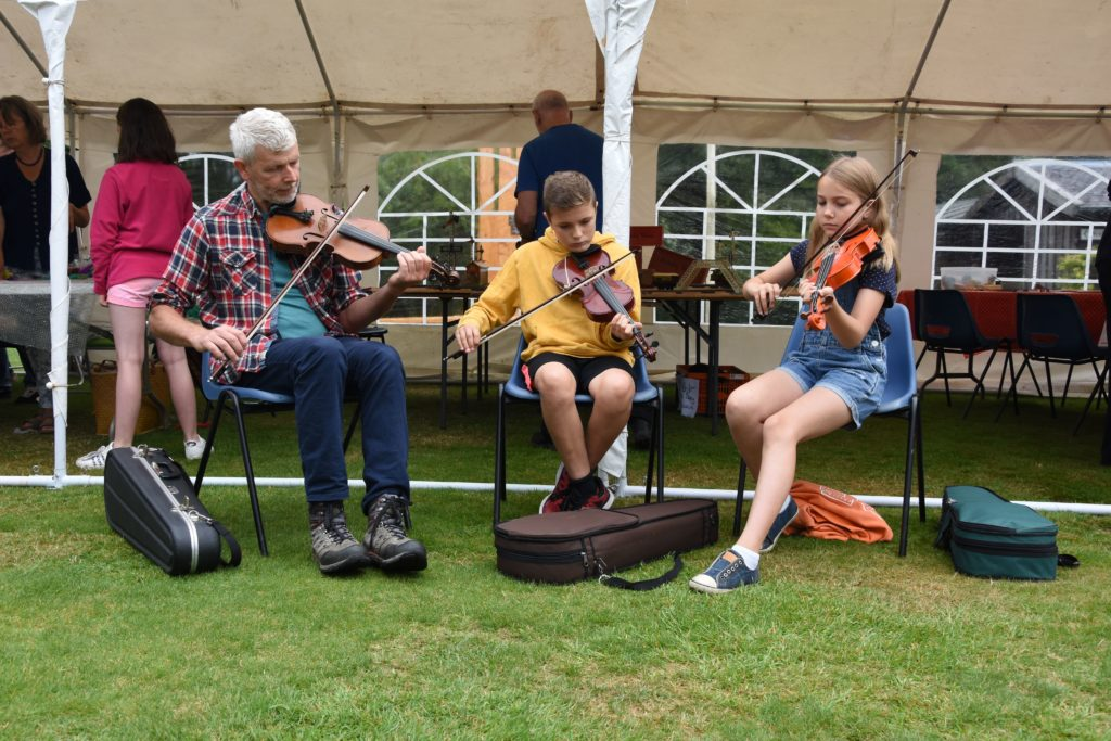 Members of the Arran Fiddle Group played an impressive set of music for the visitors.