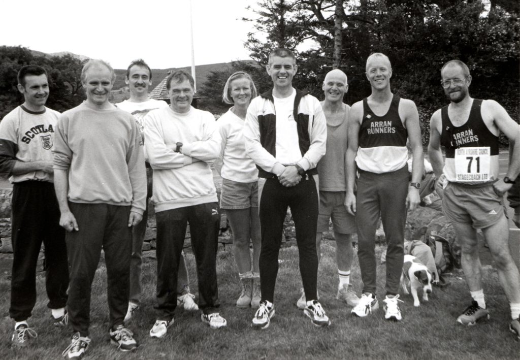 Taking part in the Round Arran Relay organised by Ayrshire Harriers were two teams from Arran Runners. They were: Nick Buloss, Brian Robertson, Alan Miller, Jim Templeton, Tommy Gilmore, Brian Sherwood, Nigel Price, Sarah Thomson and Terry McManus.