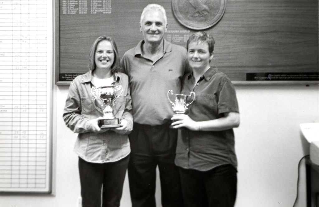 Main sponsor Donald Kerr with Lamlash Open winner Alison Young and scratch winner Donna Jackson.