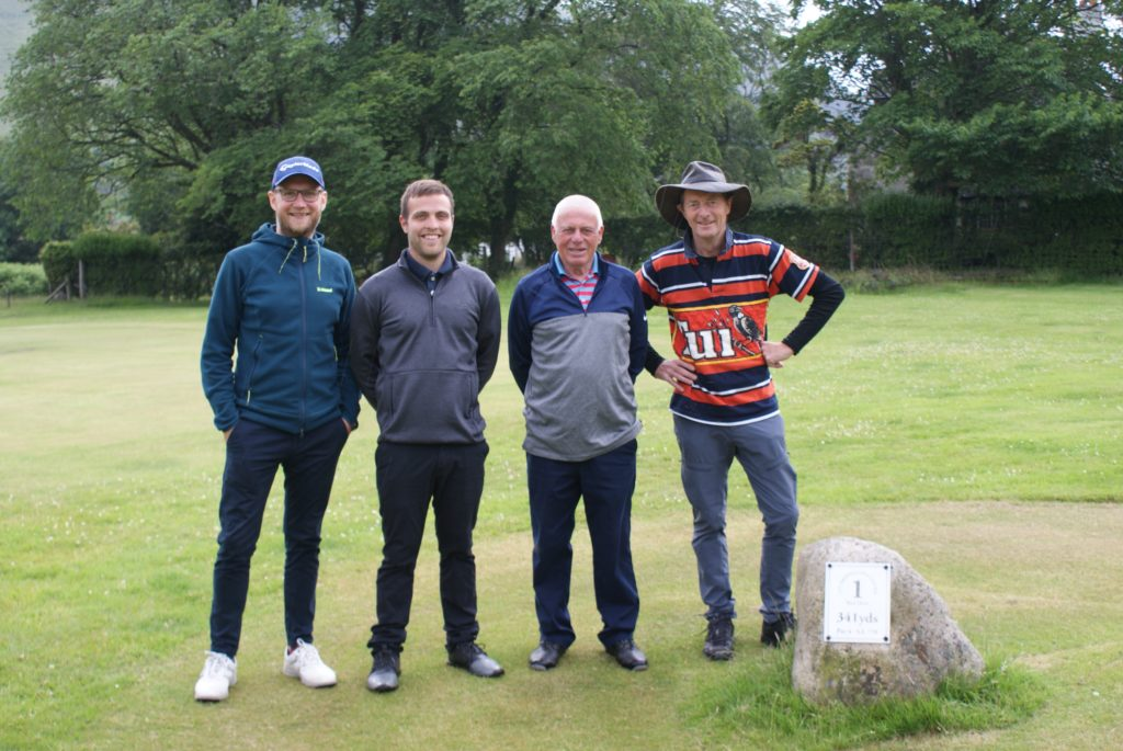 The team representing Corrie Golf Club at the Hope Cup.