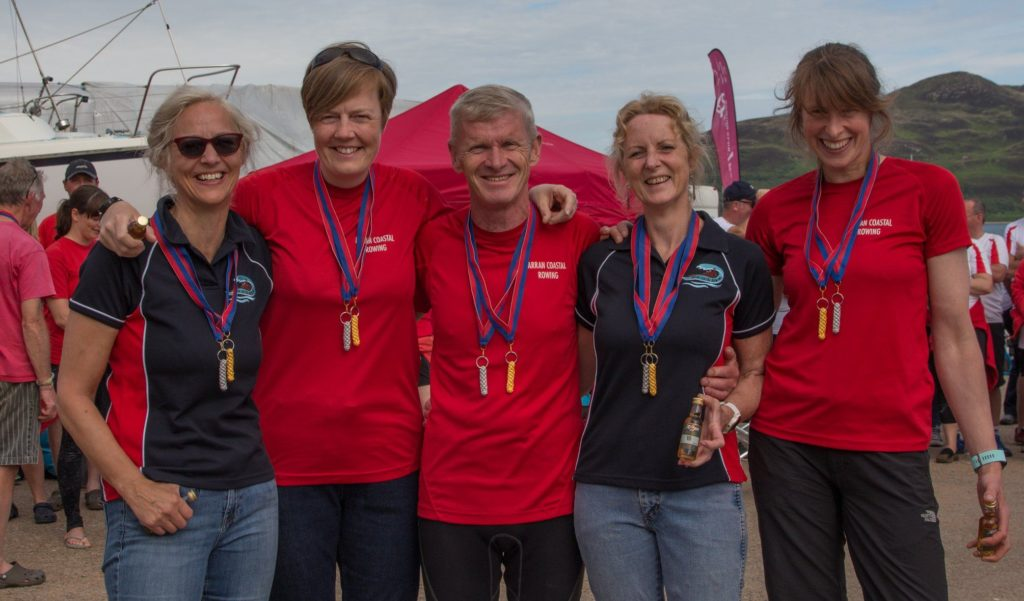 Arran's Open Women crew with their gold medals.