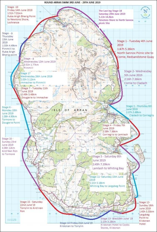 A map outlines the various stages and distances swum during the epic challenge.