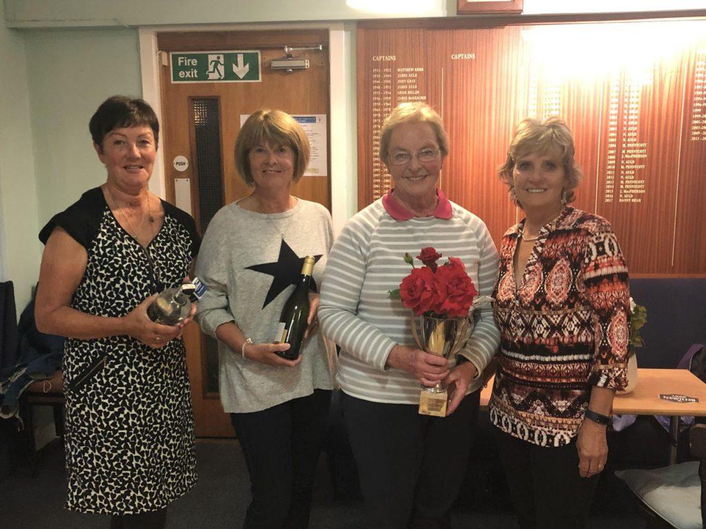 Whiting Bay Ladies Open podium party comprising Lynda Blair, Isobel Macdonald and winner Elizabeth Kelso with organiser Lesley Wood.