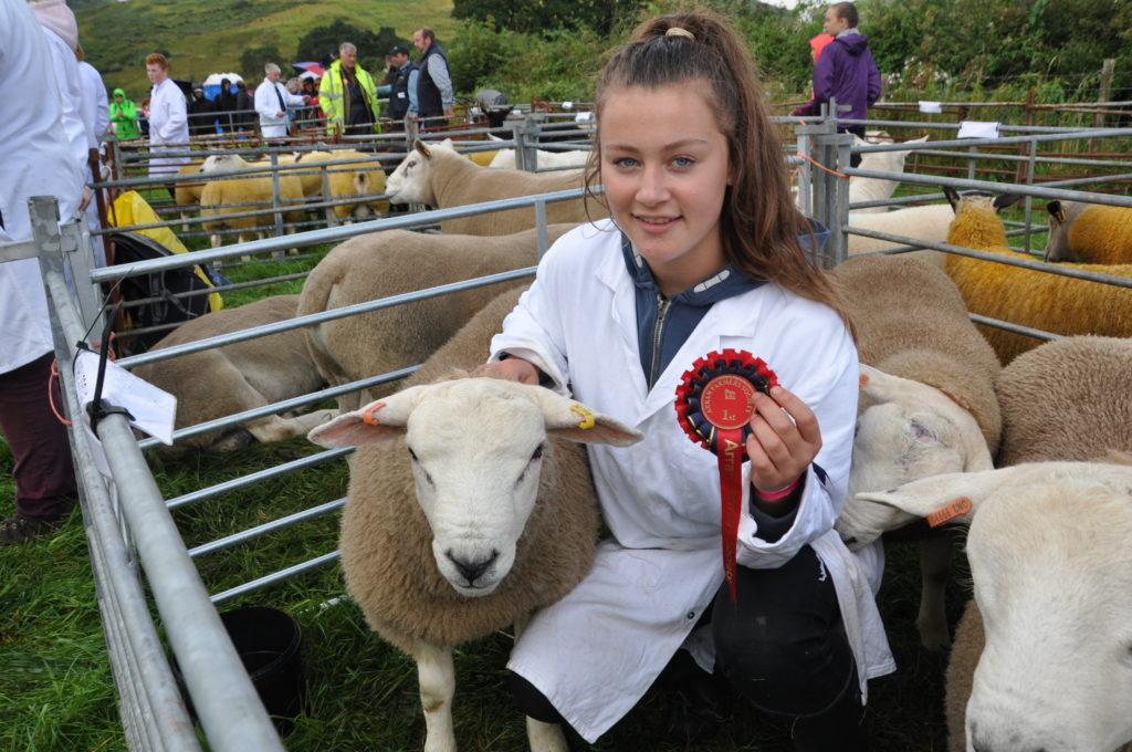 Pet lamb winner Julie Hamill with a lamb from Bridge Farm, Shiskine.