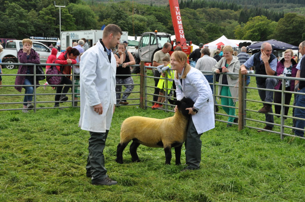 Faye Anderson of Thistle Dhu, Shiskine with her winning Suffolk gimmer.