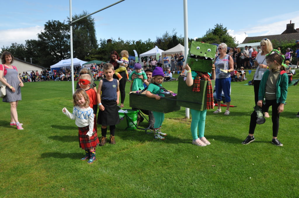The entrants in the fancy dress contest with the winning Loch Ness Monster of Hari and Lucy Boss with Voilet Raines.