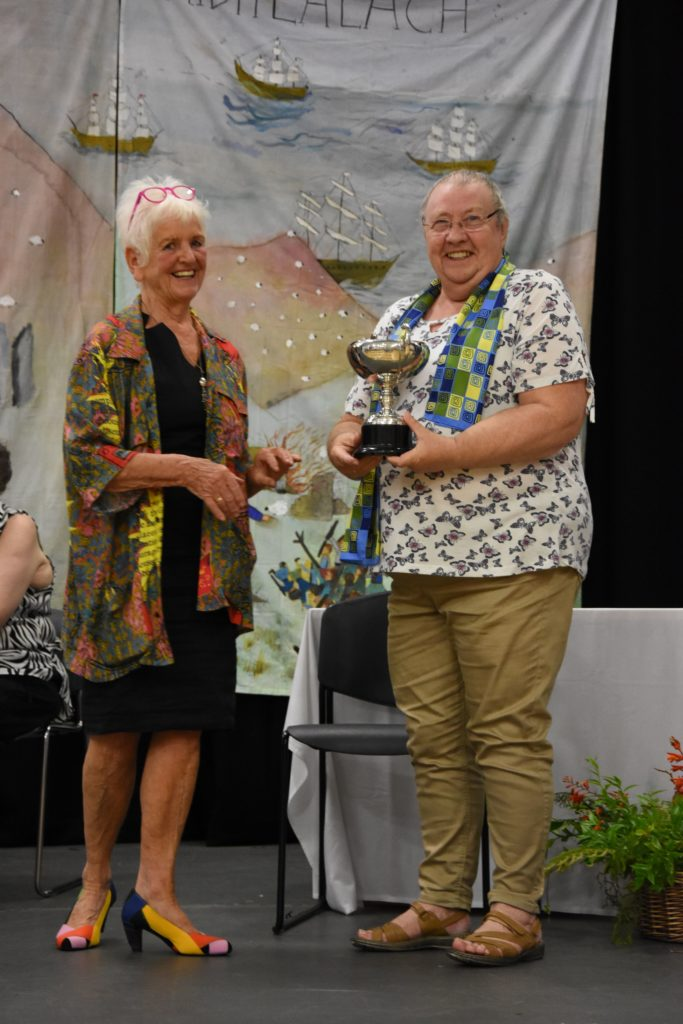 Marion Melvin received the Mary W McGarrity memorial trophy for the most points gained in the handcraft section.