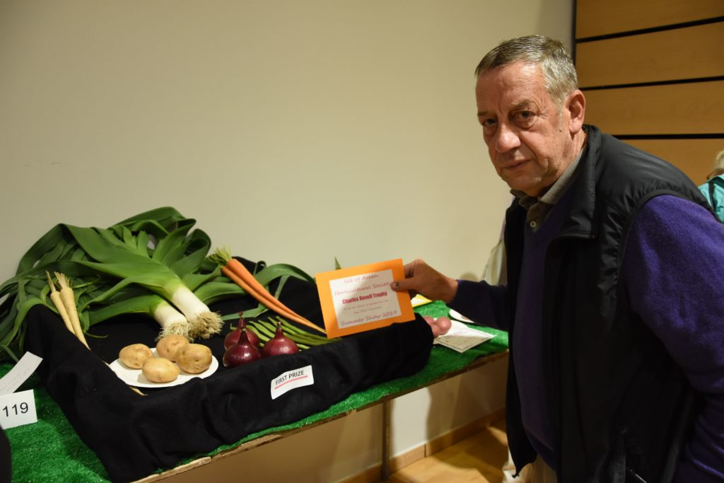 Vegetable perfection, John O'Sullivan with his vegetable display that earned him the Charles Revell trophy.
