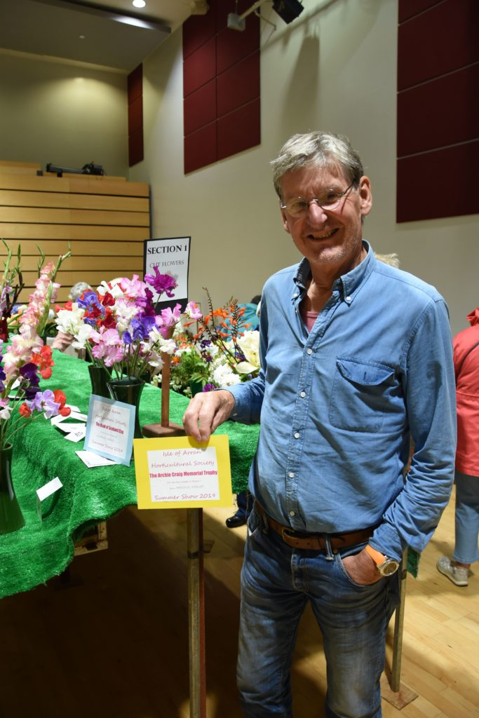 Sweet pea perfection, Malcolm Wheeler won the Archie Craig Memorial Trophy for his dahlias and the Bank of Scotland Cup for his sweet peas.