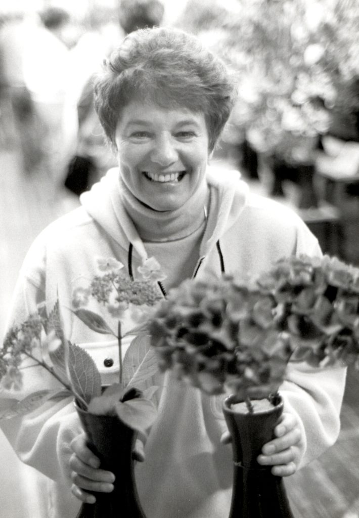 Flower show champion, Elaine Duncan of Brodick entered for the first time to become the champion hydrangea grower.