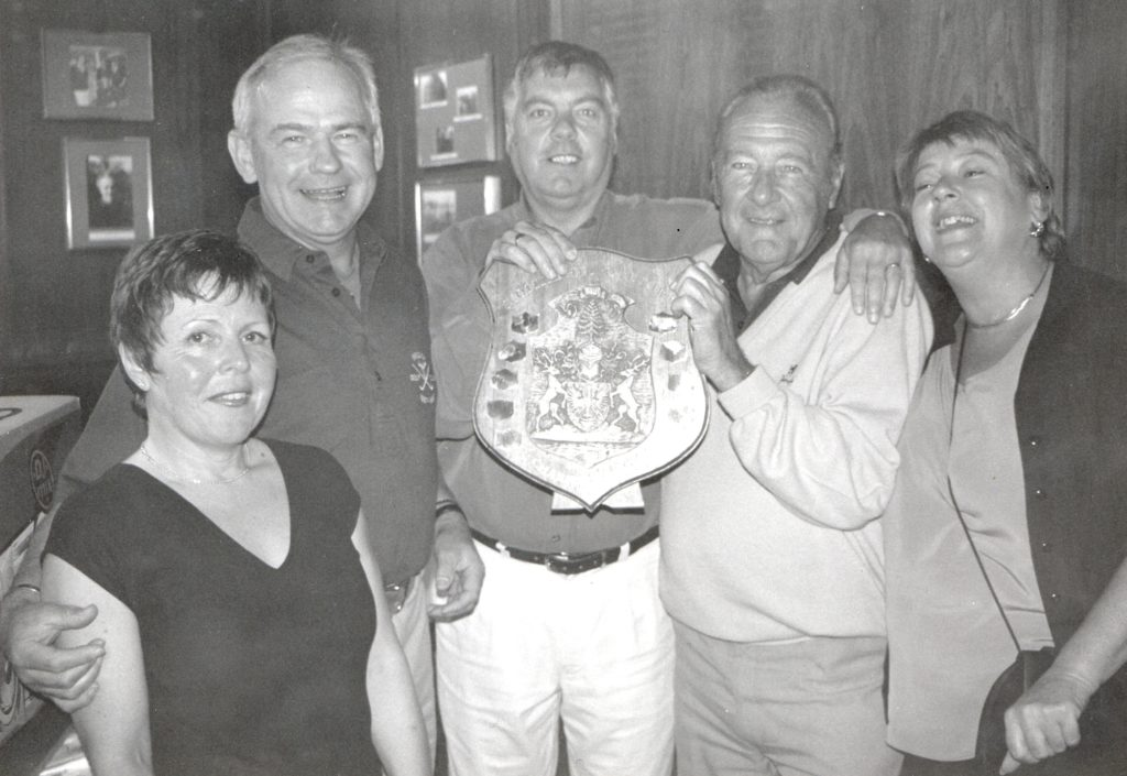 Overall winners of the annual Scottish Hydro Electric charity golf match at Brodick were Andrew Gillespie and Hugh Angus who are pictured with Susie McKinnie, Robin McKinnie of Scottish Hydro Electric and Rosie Cook.
