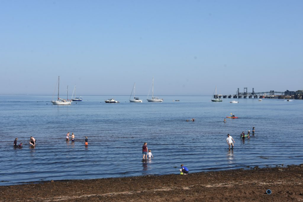 High temperatures saw many families taking to the water to cool down.