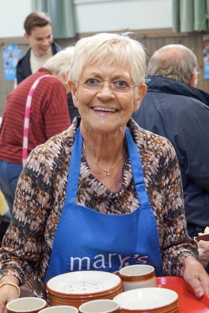 Volunteer Margaret Auld ensures that the hot drinks keep flowing.