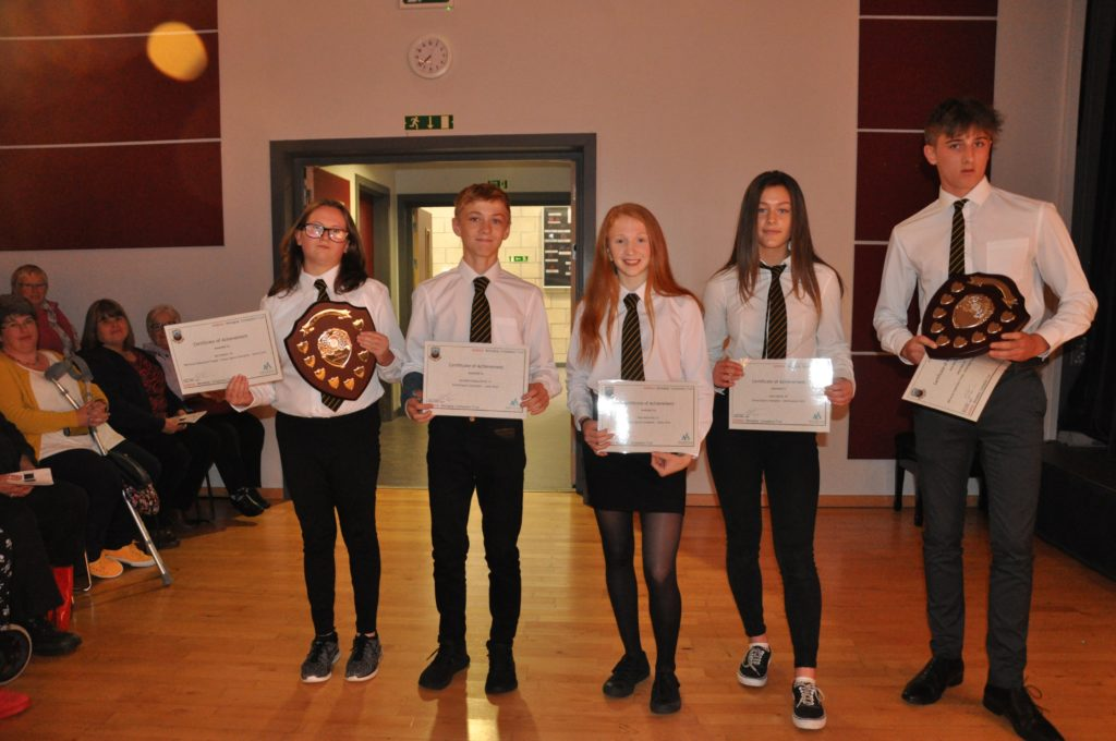 School sports champions - senior (trophy from Arran Federation SWI) James Reid and Mia Walker. Intermediate Allan Tweedly (not pictured) and Julie Hamill. Junior Ruraidh Lindsay-Smith and Beth McCarthy.