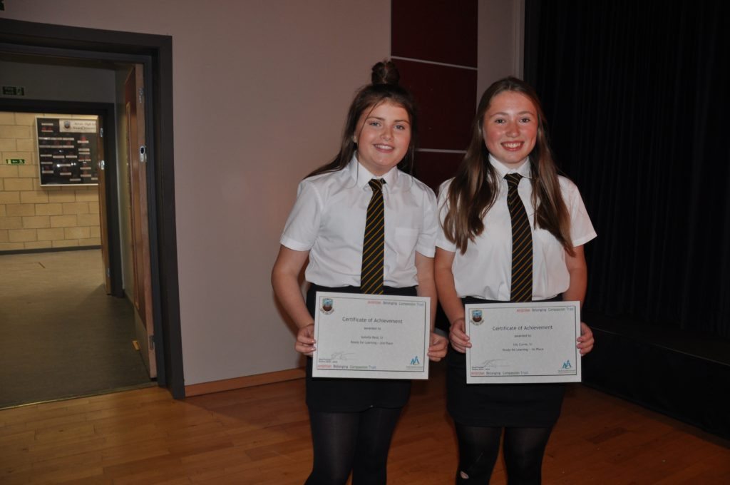 Lily Currie (right) achieved 1st place in the ready for learning away. Isabella Reid was runner-up.