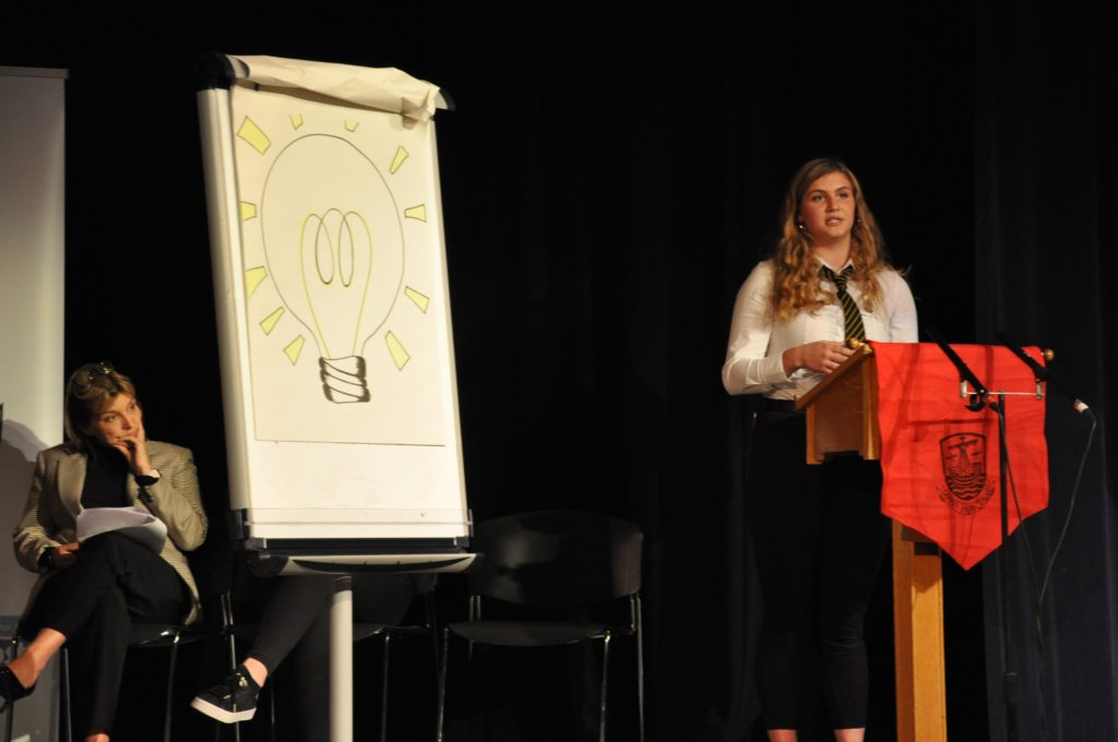 Dux Eilidh Hamill gave an inspirational talk assisted by whiteboard illustrations.