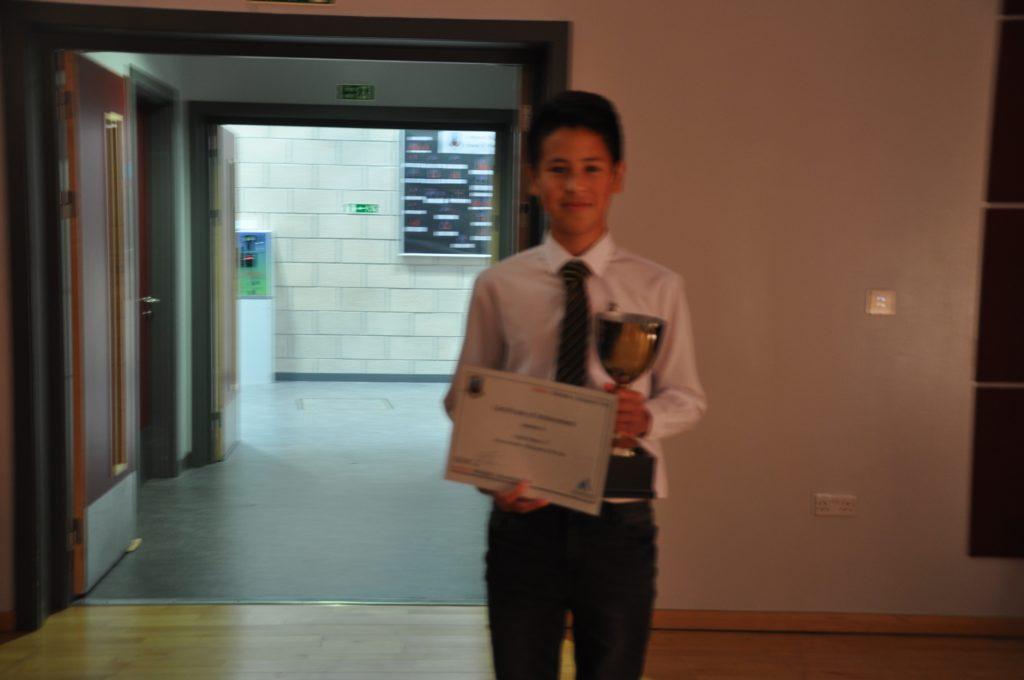 Callum Watson with his active schools participant award.