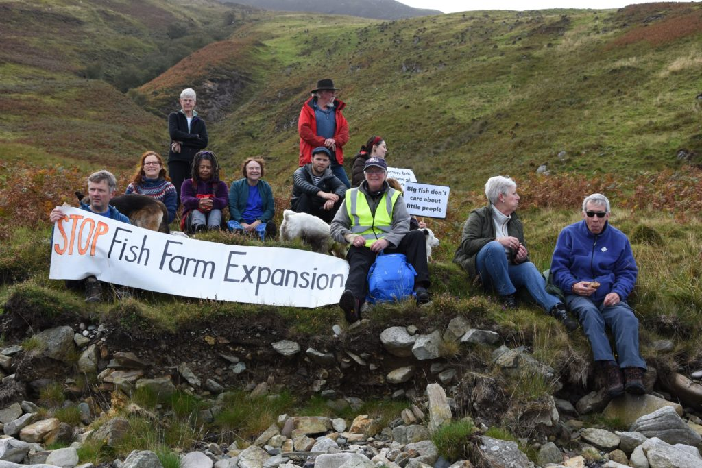 Enjoying a well-deserved rest, protestors catch their breath and take in the scenic views.