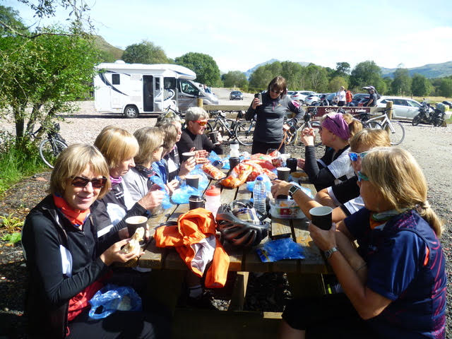 The Belles enjoy lunch on the road at Mingary Castle in Kilchoan, Ardnamurchan.