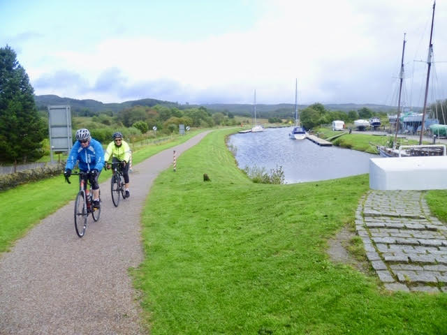 Two Belles cycle along the scenic Crinan Canal.