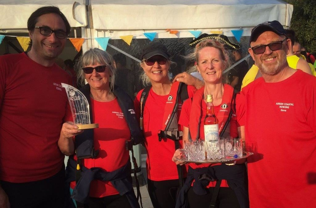 Rowers with the over 50's mixed trophy and the South West Challenge Silver Salver.