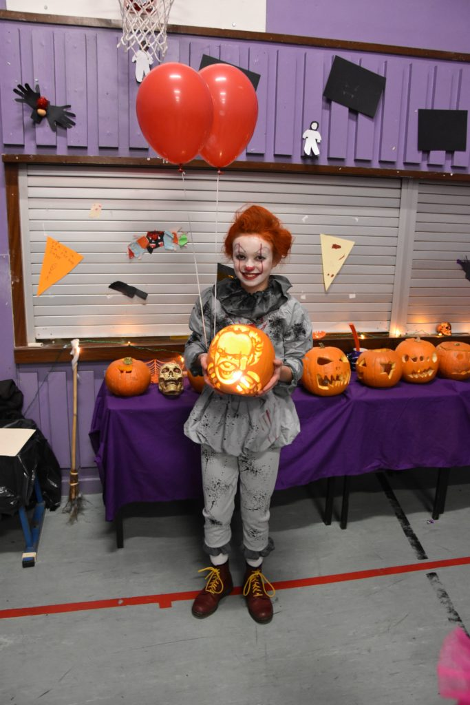 Niamh Gosman won the pumpkin carving competition with an excellent self portrait.