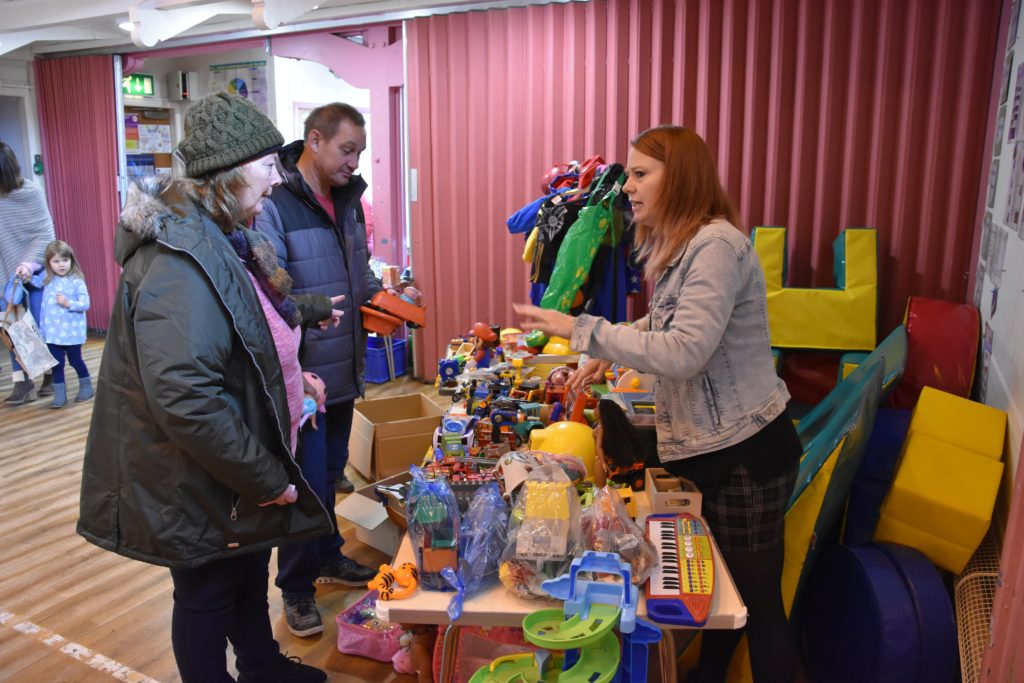 Marie-louise Craig does a roaring trade at her toy stall.