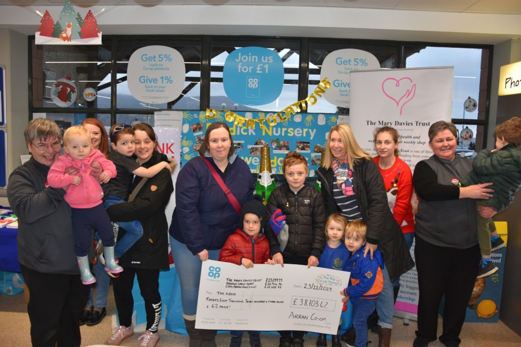 Parents, teachers and pupils of Brodick Nursery visit the Brodick Co-op to say thank you for their support.