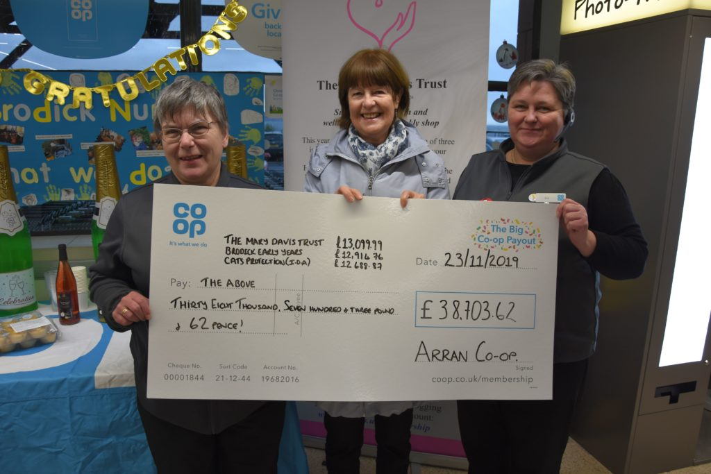 The Co-op's Liz McLean and Carol Harwood present Janice Small with a cheque for the Mary Davis Trust.
