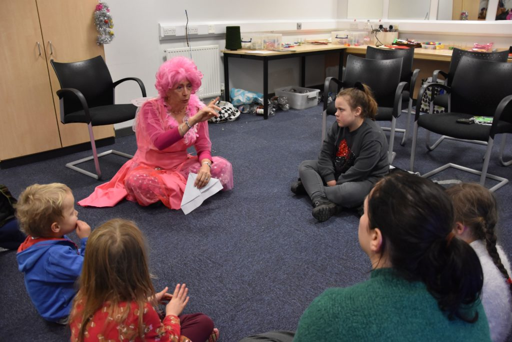 Sheila Gilmore enthralls children with a fairy tale.
