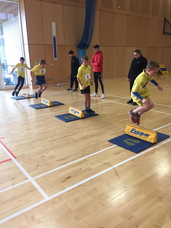 Team Arran show off their jumping abilities under the watchful eyes of the coaches.