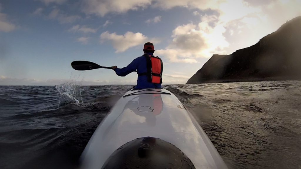 Luke Furze makes his way around Holy Isle in relatively calm waters.