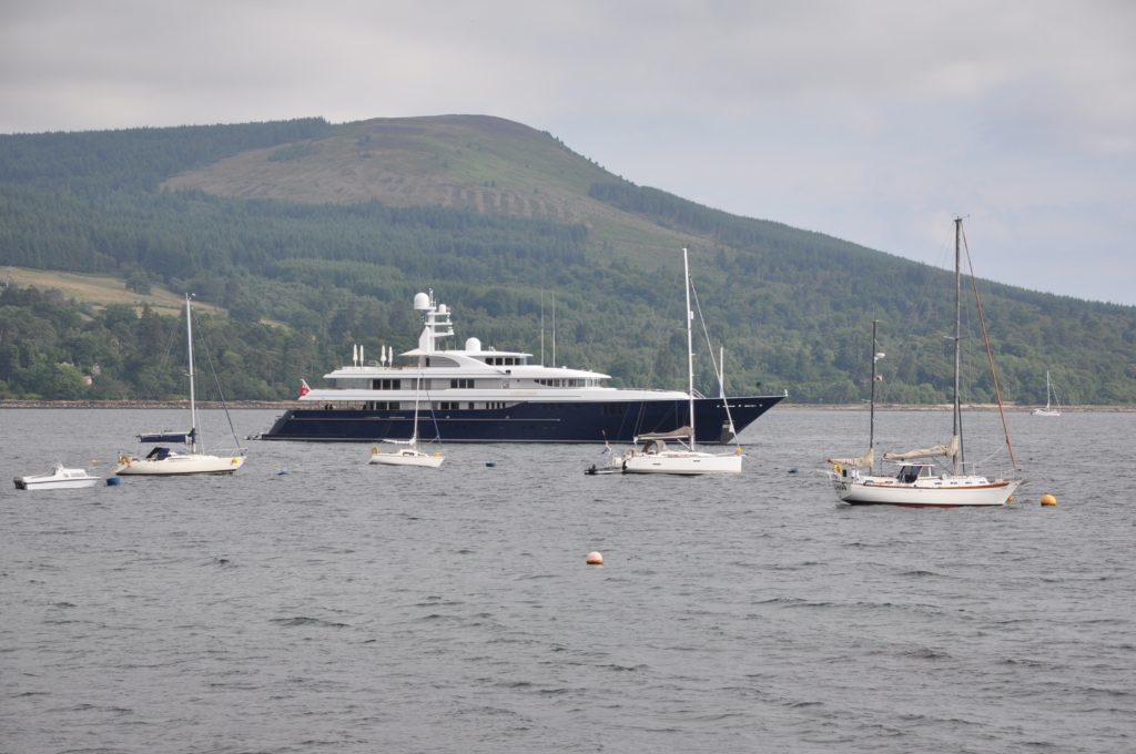 Superyacht in Brodick Bay