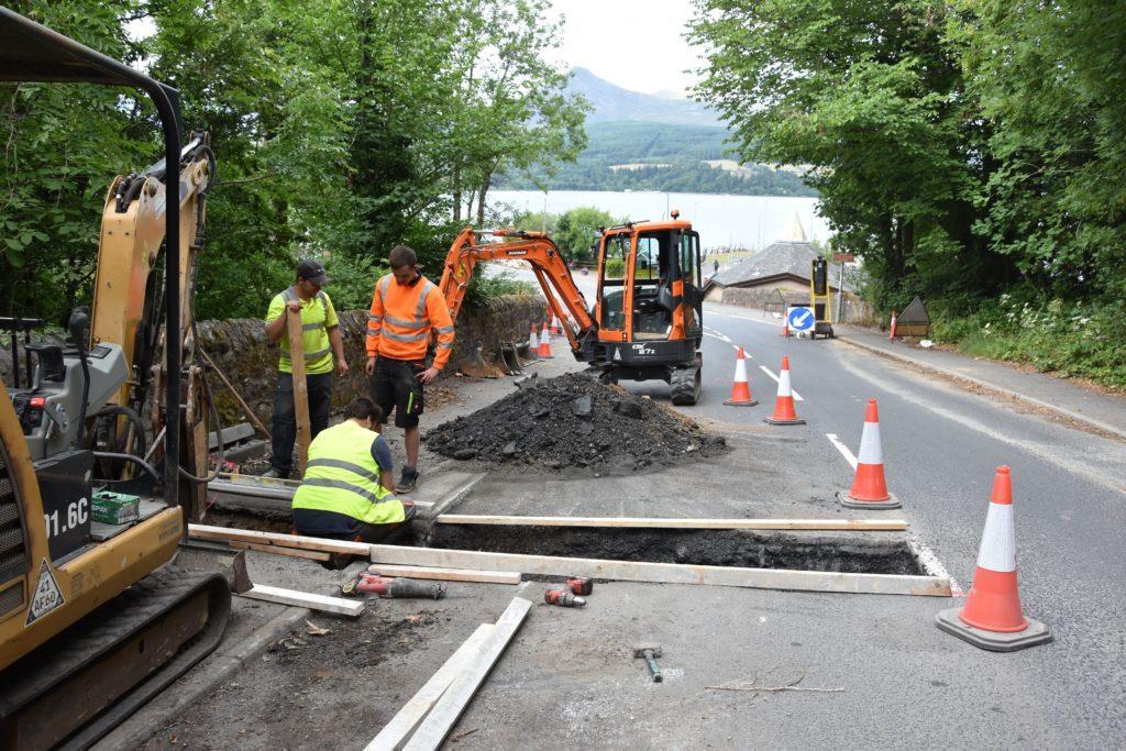 Metal bridge brought in to assist with road repairs
