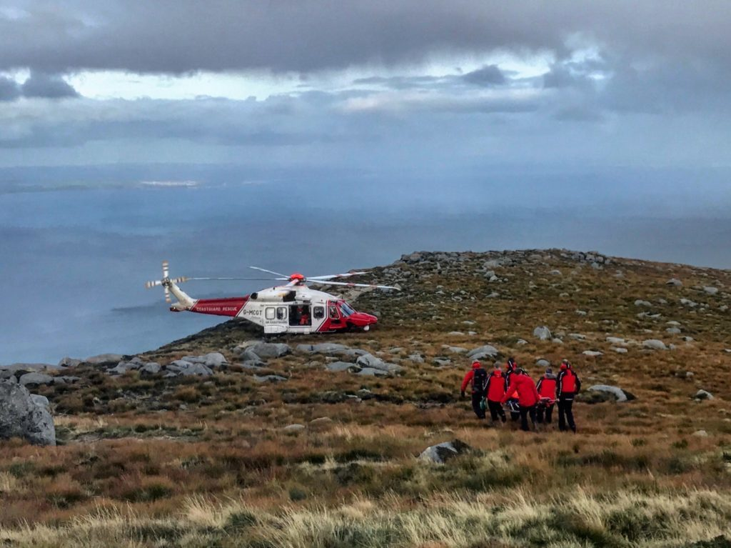 Casualty is rescued by helicopter from Goatfell
