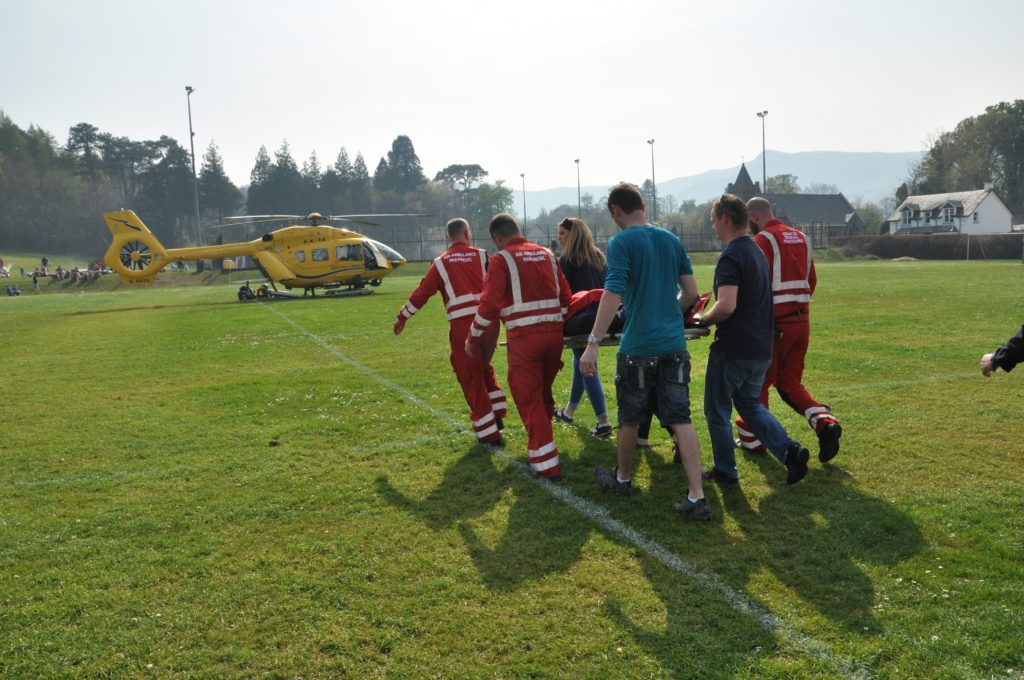 Player in air dash to hospital