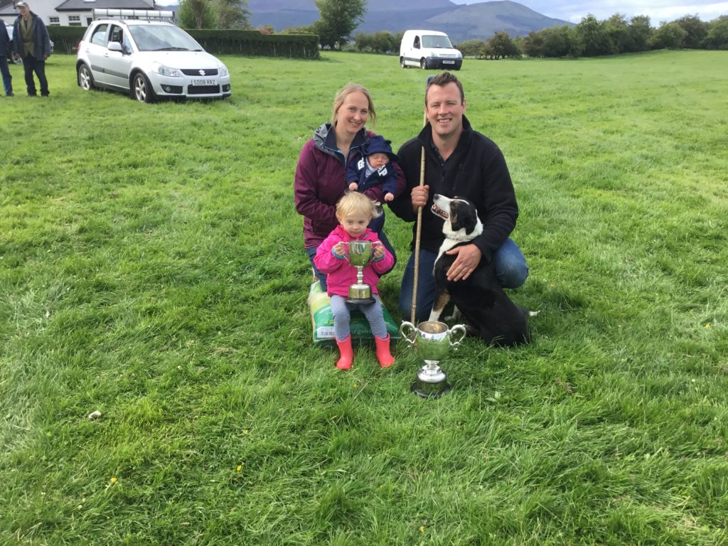 Niall lifts local trophy at sheep dog trials